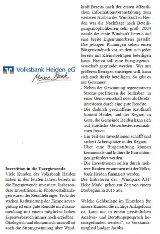 Artikel Volksbank Heiden November 2013